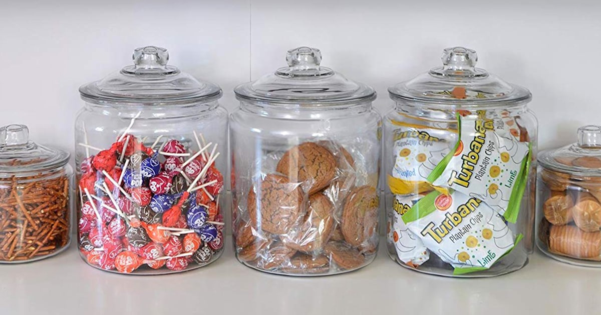 Glass jars can help with kitchen and pantry organization