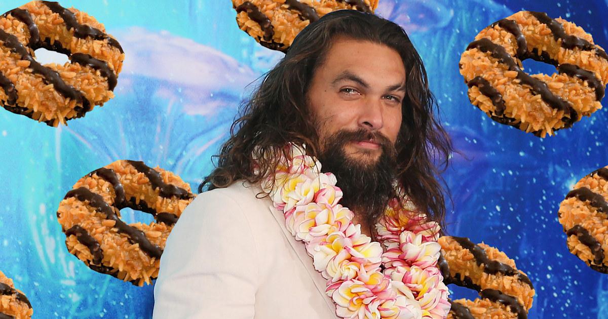Girl Scout creates Jason Momoa-themed Samoa cookies