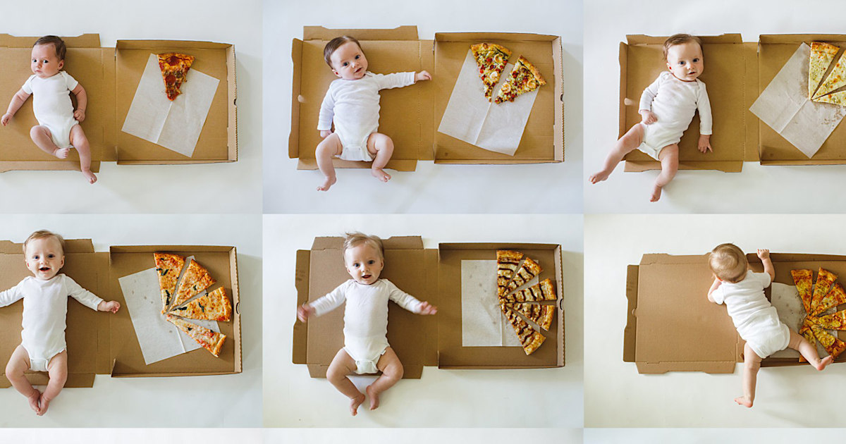 Cheesy photos of 1-year-old baby's monthly milestones will melt your heart