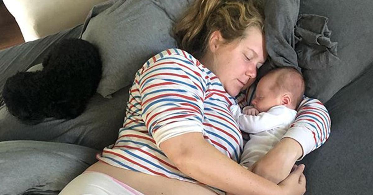 Amy Schumer wears hospital underwear in photos with son, Gene