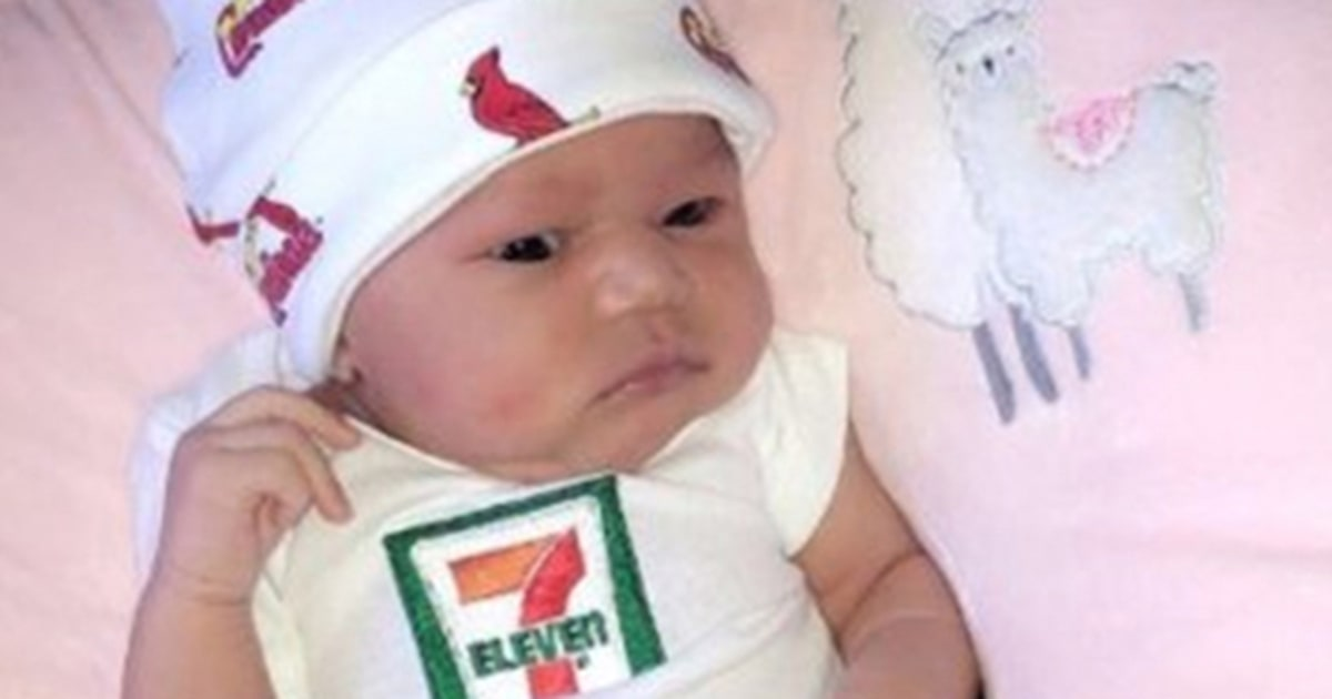 Baby born July 11 at 7:11 p.m. at 7 pounds, 11 ounces gets college money from 7-Eleven