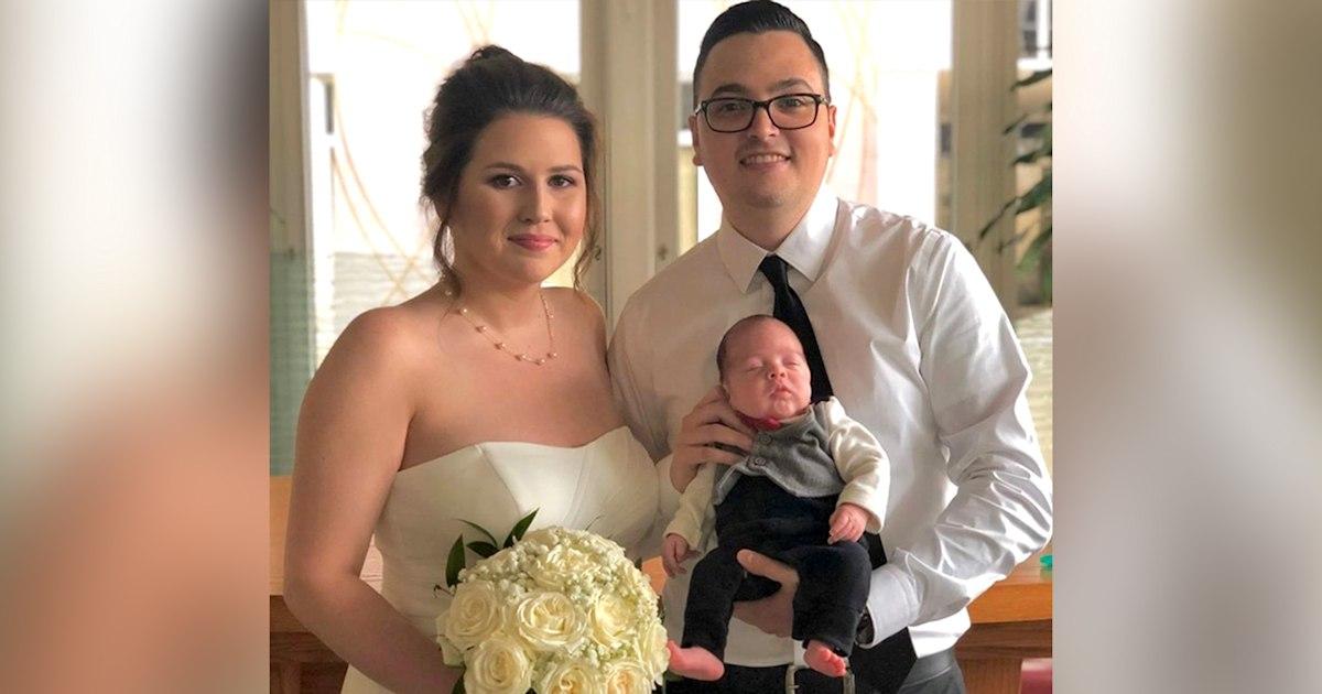 Bride carries preemie son down wedding aisle instead of flowers