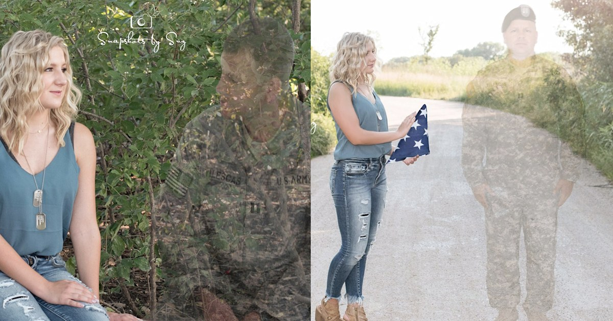 Teen honors fallen Army father in 'sweet and sad' senior photos