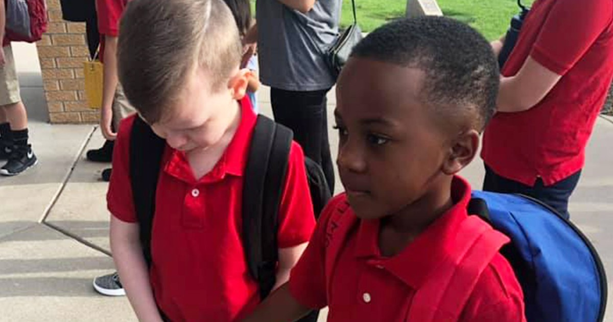 Boy consoles classmate with autism on first day of school