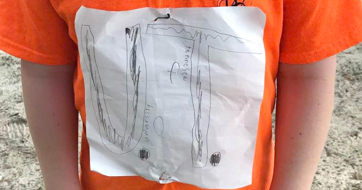 Boy's homemade UT Vols shirt for sale on school's site