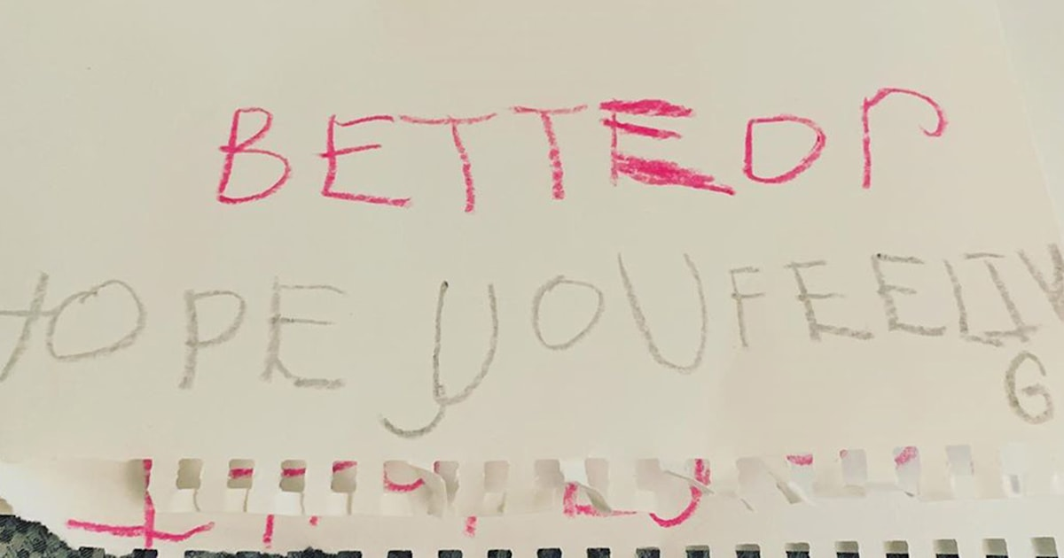 See the sweet get-well card Savannah's child made for her