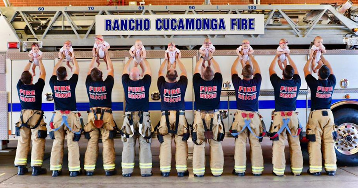 9 firefighters welcomed back-to-back babies so they had a photo shoot