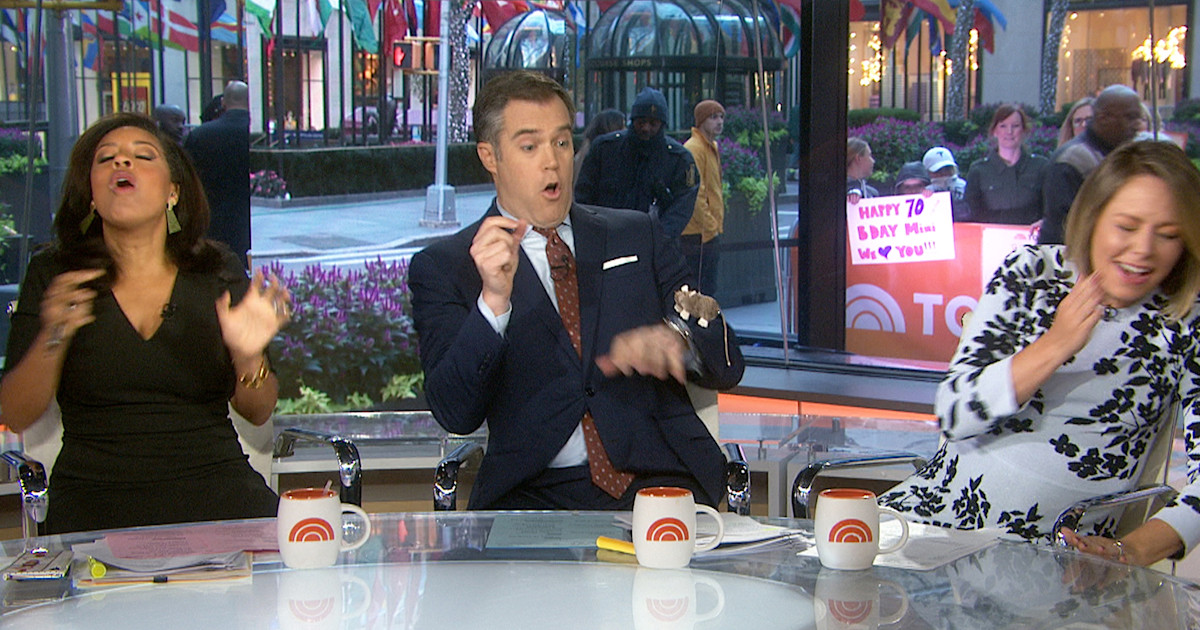 Weekend TODAY anchors get scared on air by fake mouse — watch the funny video