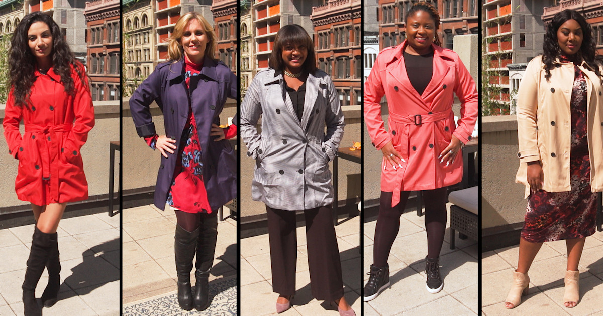Watch 5 women try on this bestselling fall trench coat in their size