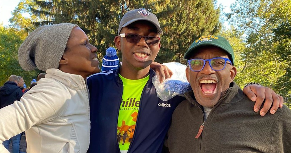Al Roker is ever the proud parent as he cheers on son Nick at a race