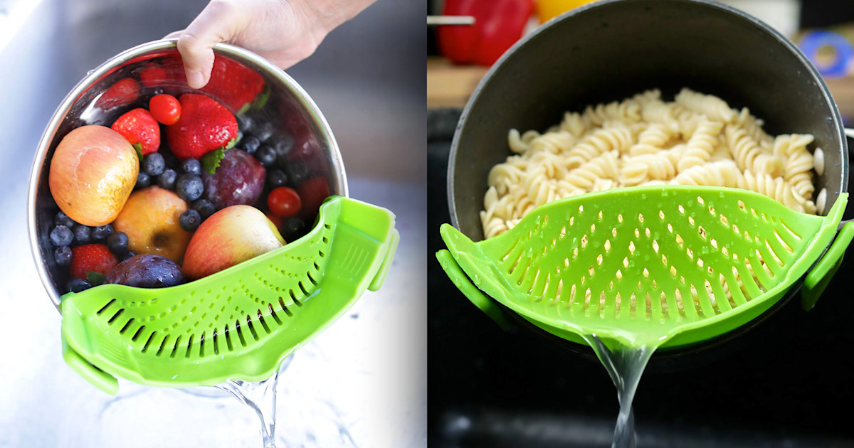 This $11 clip-on strainer makes cooking pasta so much easier