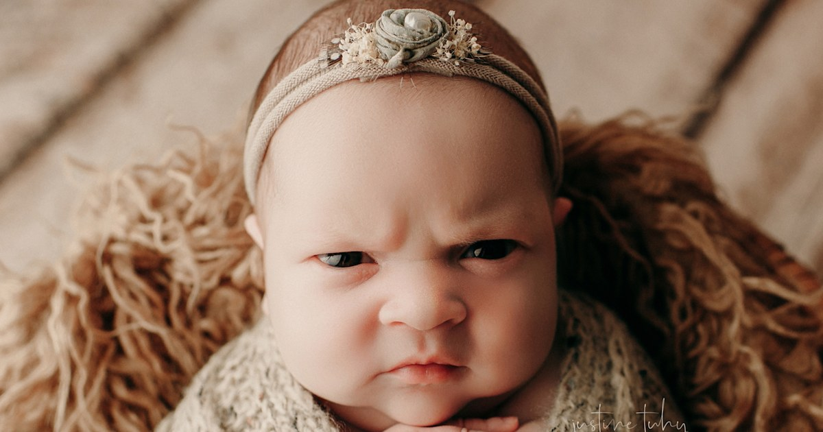 'I love the mean mug': Baby's photo shoot scowl goes viral
