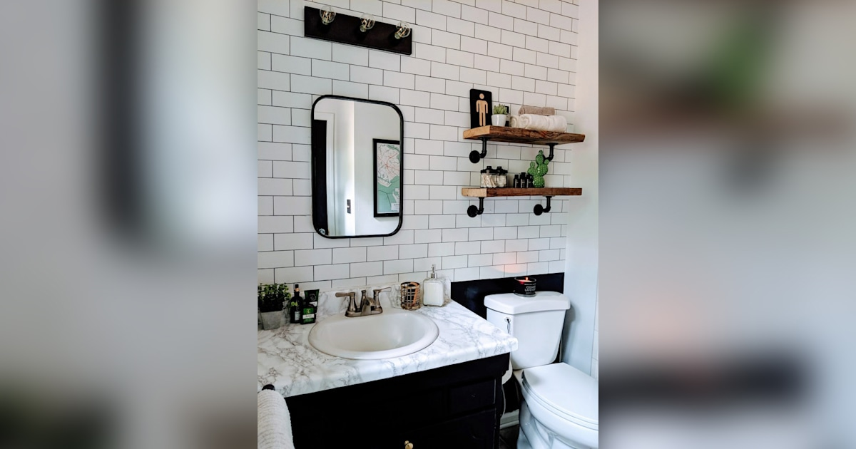 How 1 homeowner used subway tile in her bathroom for only $3 on Farmhouse Bathroom Tile  id=46815