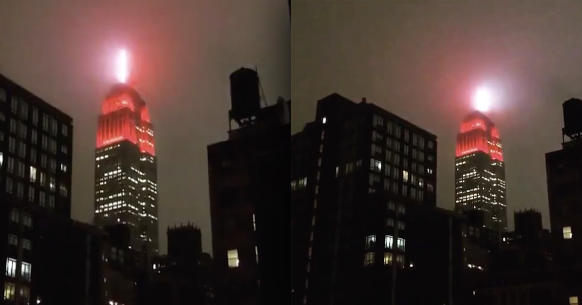 Striking video shows Empire State Building with spinning 'siren' red light