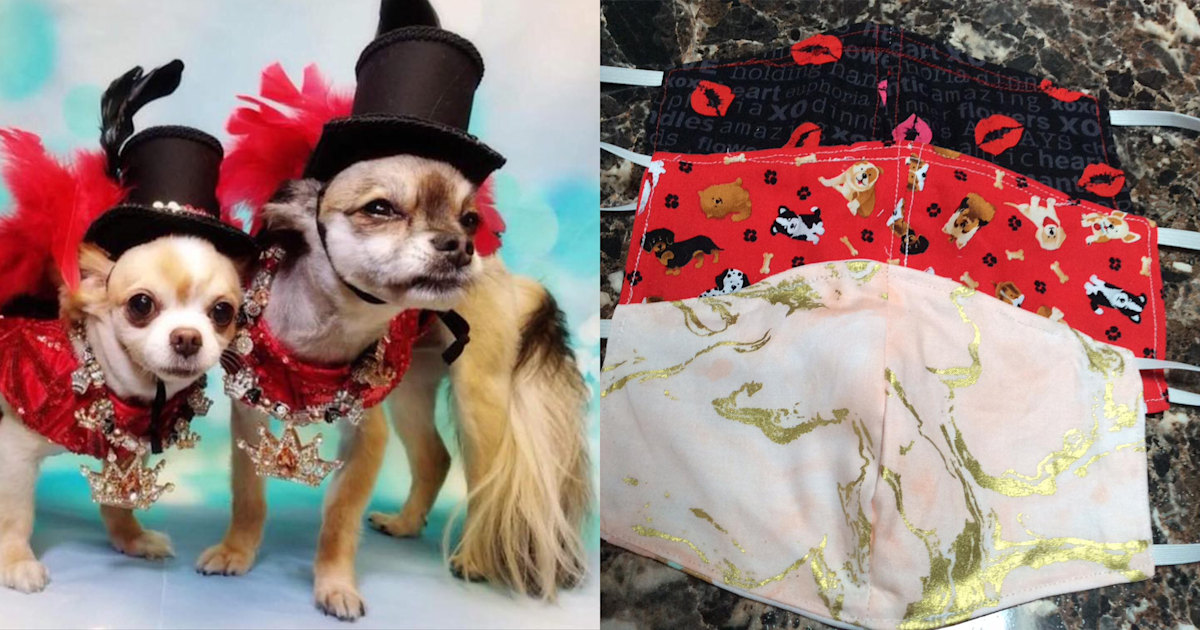 Pet fashion designers sew face masks to help medical workers