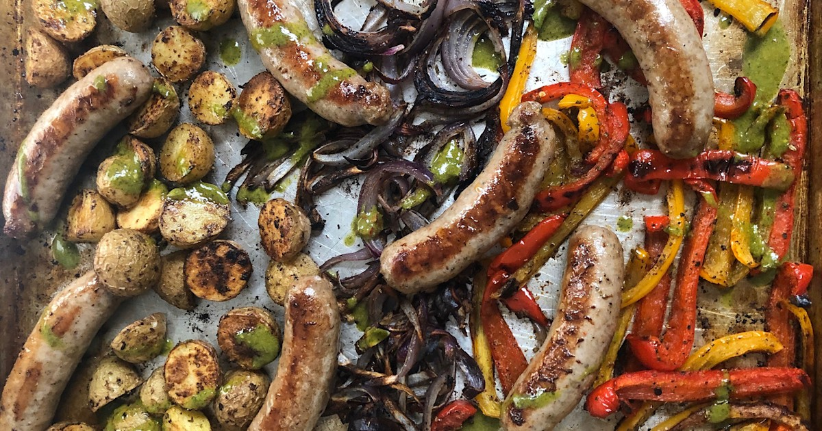 This sheet pan dinner with sausage and peppers packs a spicy punch