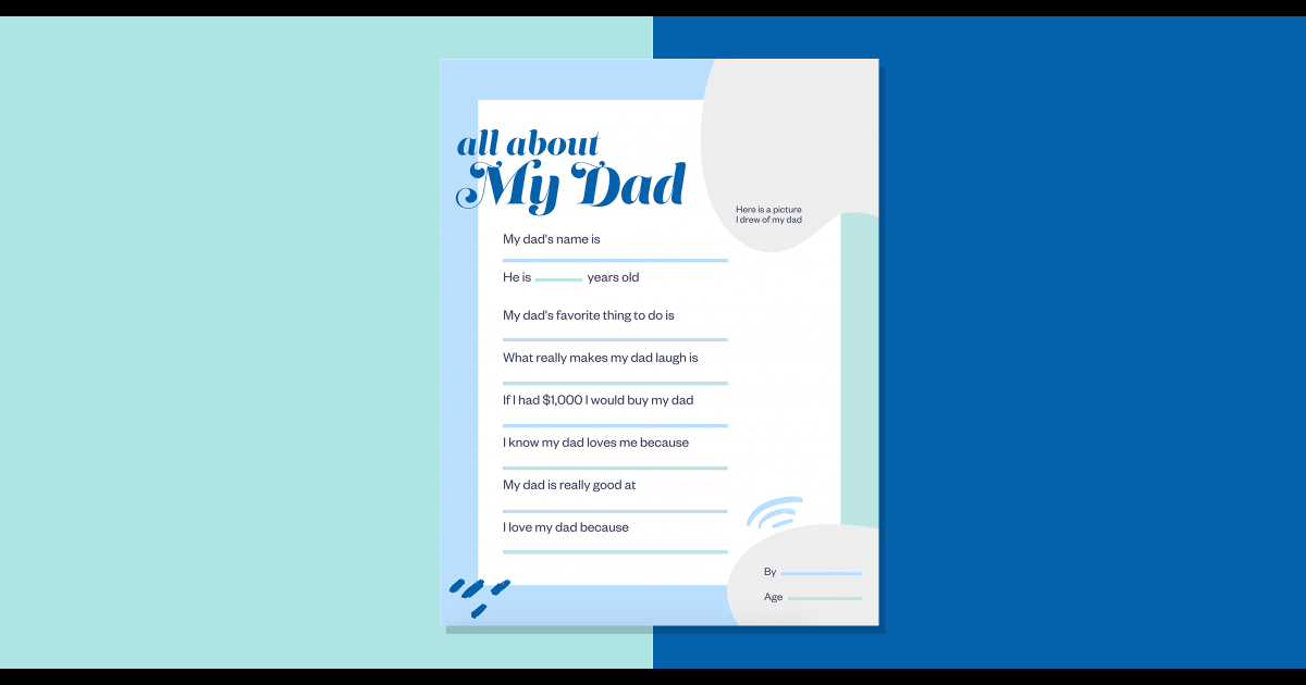 Free printable for Father's Day: All about Dad questionnaire