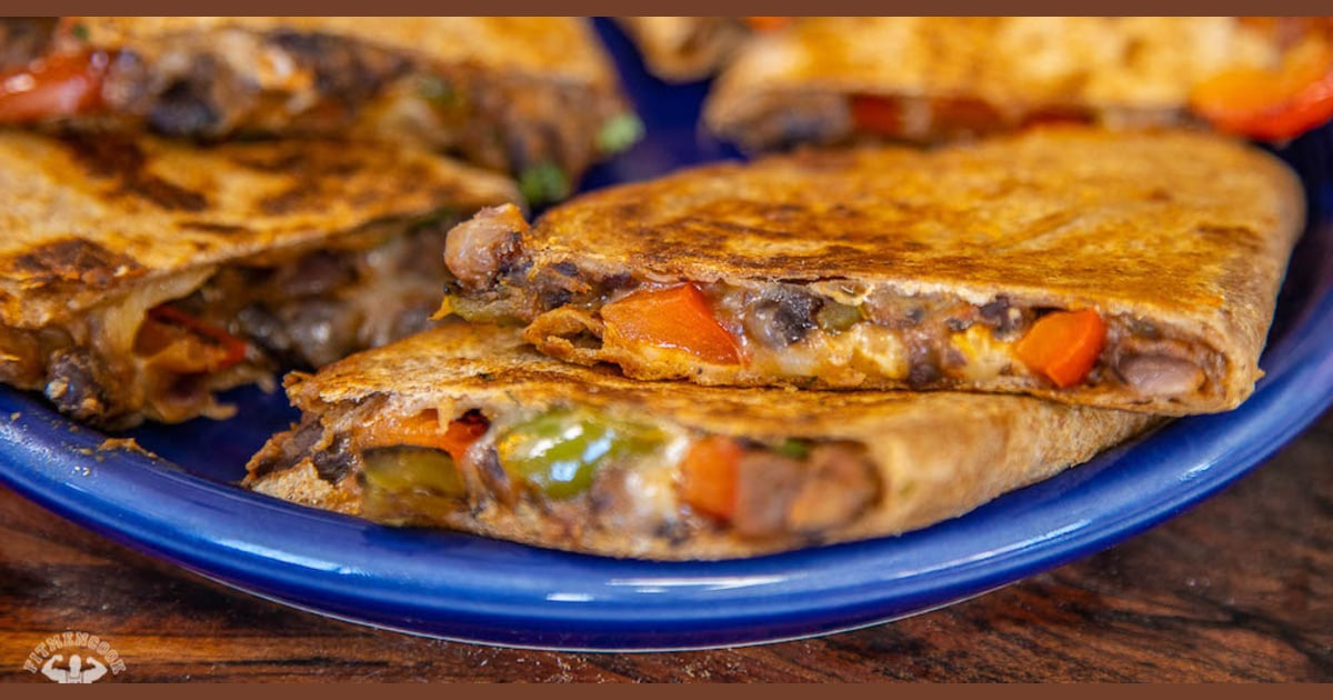 Make quesadillas healthier with fresh veggies and hearty black beans