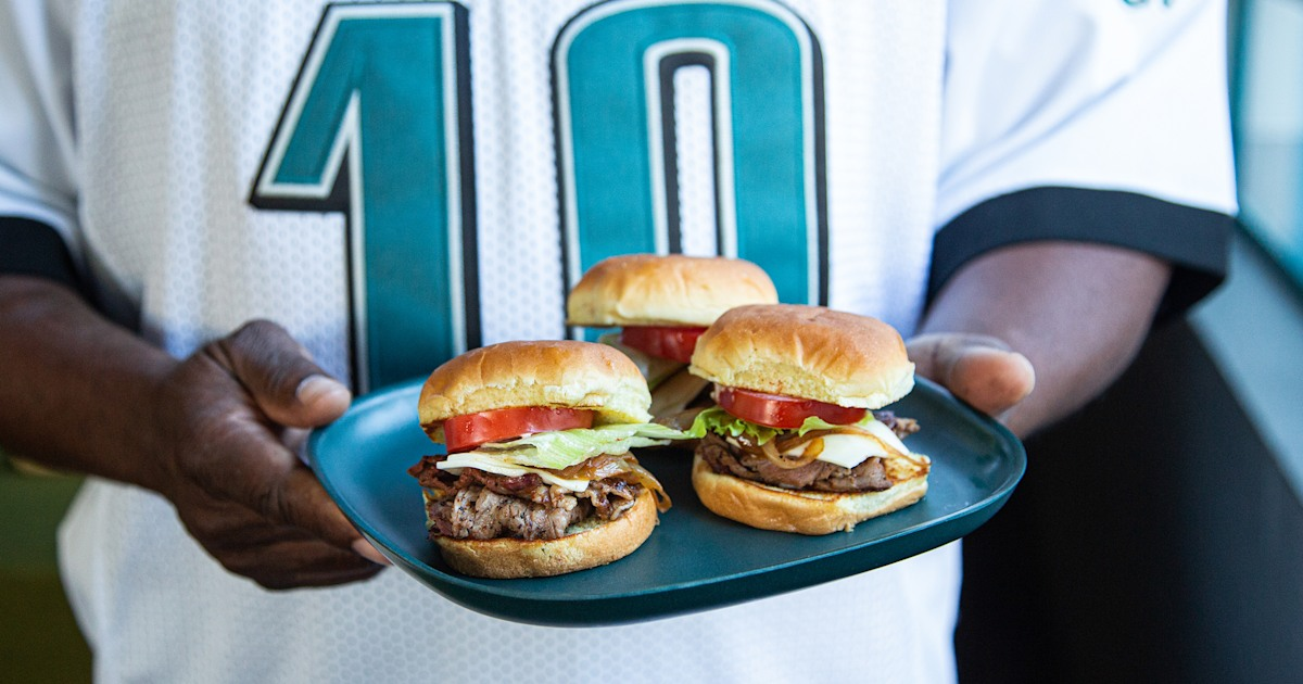 Rodney Scott gears up for game day with cheesesteak sliders and smoky sausage bites