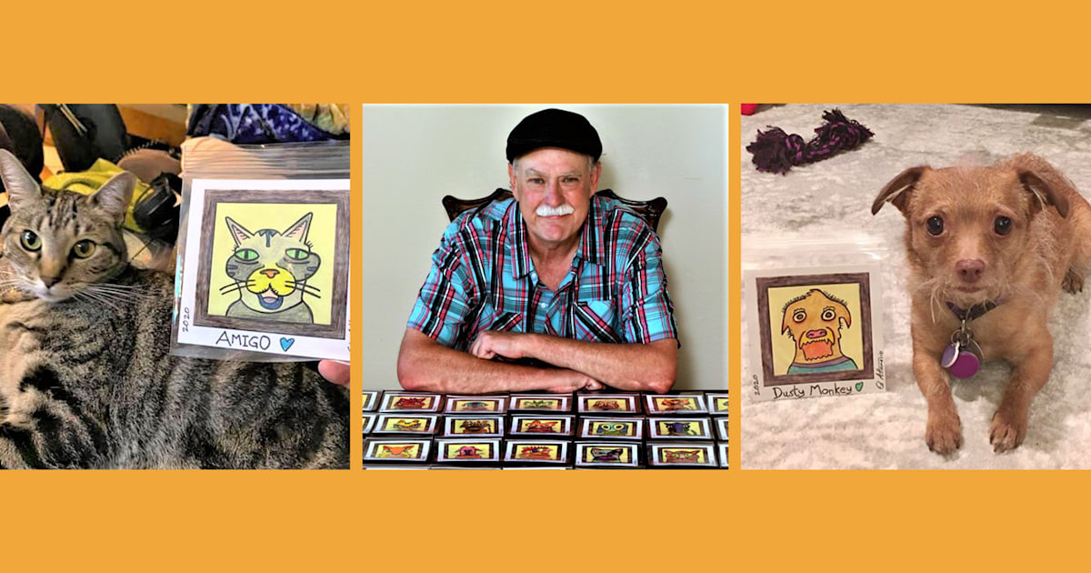 Post-it 'Picasso,' a stroke survivor, draws pet portraits to help shelters
