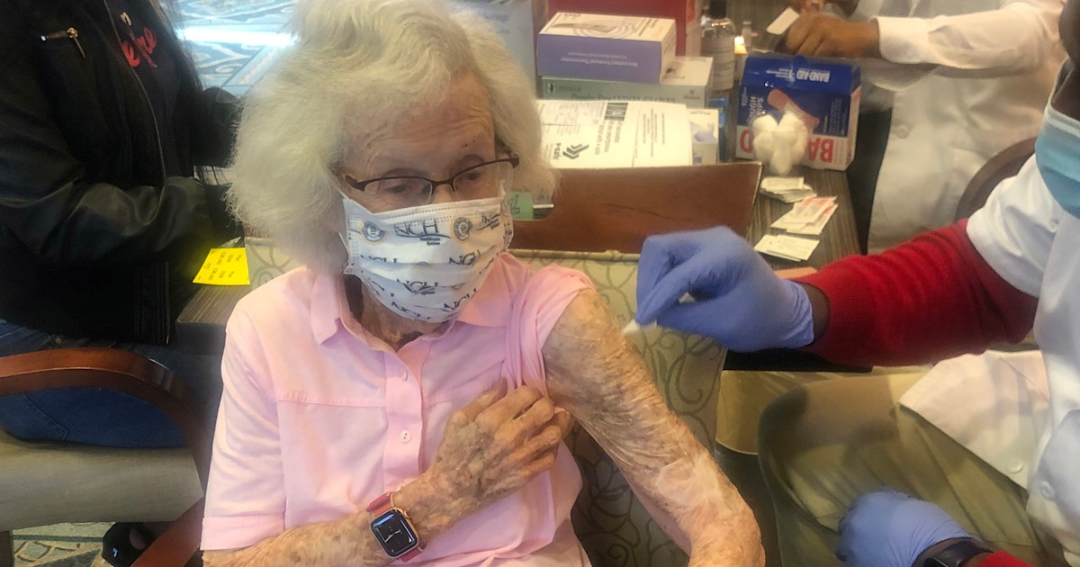 102-year-old gets second dose of COVID-19 vaccine: 'I feel as though I'm free'