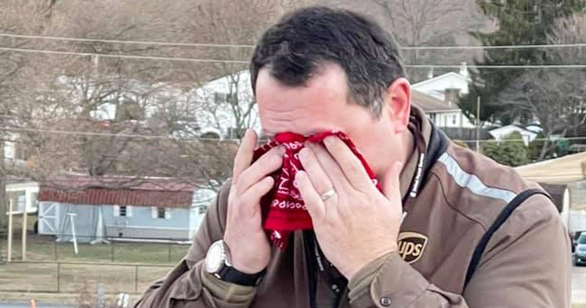 Small town moves their 1 UPS driver to tears with generous gift, party
