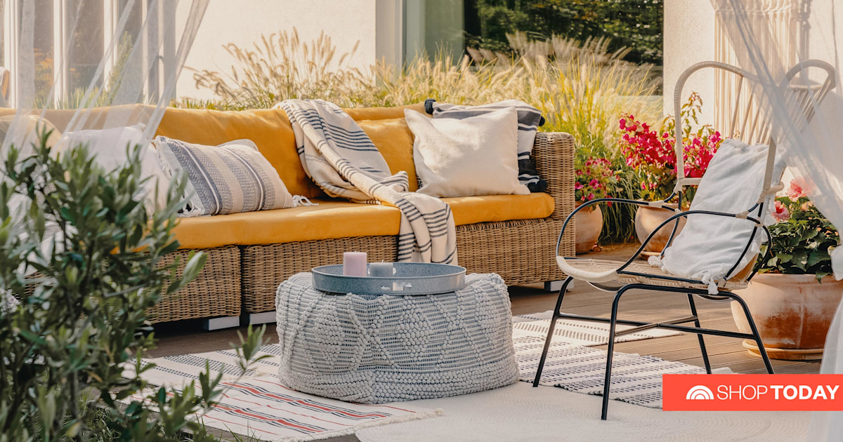 3-Seat Outdoor Black Rattan Sofa Furniture with Royal Blue Cushion Patio PE Wicker Couch