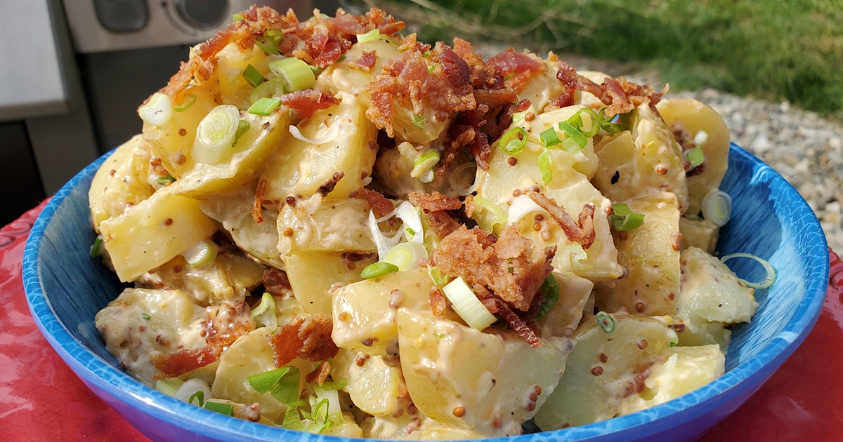 Crispy bacon adds a smoky and salty crunch to summery potato salad