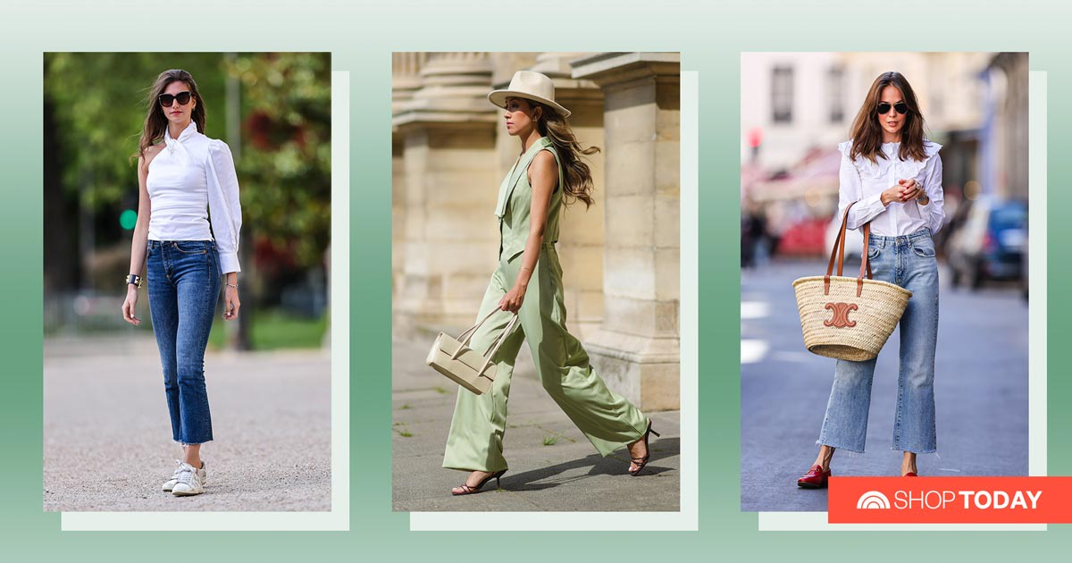From clogs to espadrilles, these shoe styles complement wide-leg pants