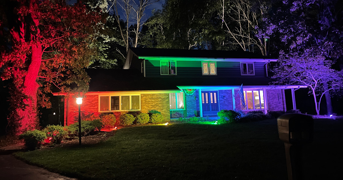Couple was told to take down pride flag. They responded with rainbow light display