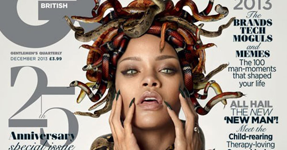 Rihanna poses with snakes and reptilian eyes on GQ cover