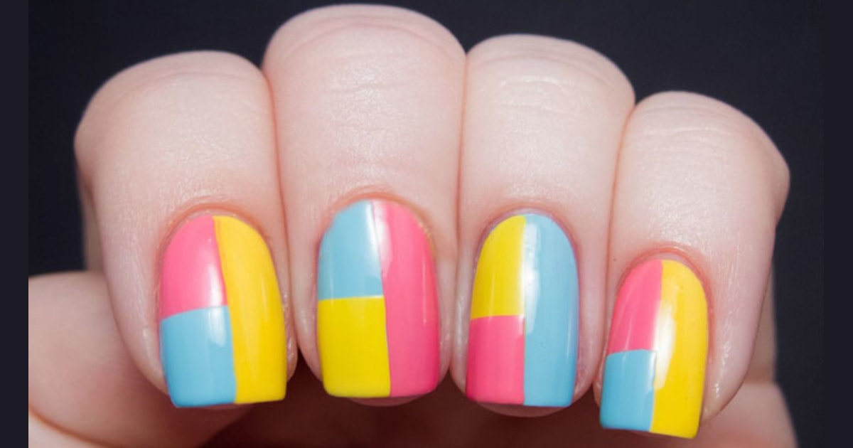 DIY: Summer nail art designs, colorblocked manicures