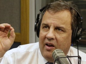 Image: New Jersey Gov. Chris Christie sits in a studio during his radio program,