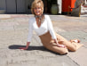 Impressive! Jane Fonda left her prints in cement alongside her father Henry Fonda's outside the former Grauman's Theatre.
