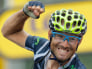 Image: Spanish rider Alejandro Valverde of the Movistar team celebrates while crossing the finish line to win the 17th stage of the Tour de France 2012, Thursday, July 19.