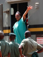 Zimbabwe's Lawyers For Human Rights (ZLHR) Board Member Beatrice Mtetwa waves as she arrives at Harare Magistrates Court