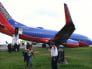 Handout shows a Southwest Airlines plane sitting on the tarmac, after landing without its nose gear, at LaGuardia airport in New York