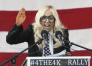 Singer Lady Gaga speaks at a rally in Portland Maine