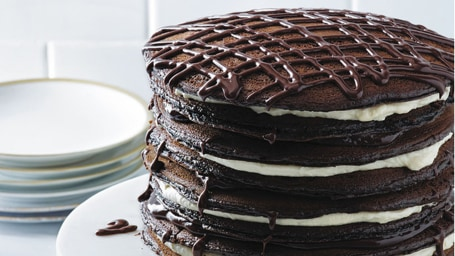 This black and white pancake cake will wow your guests