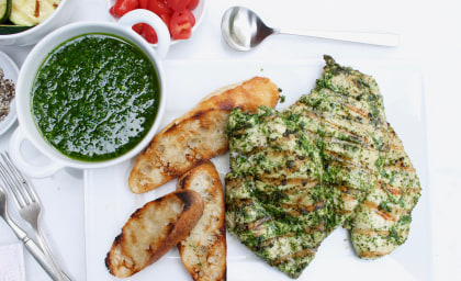 Garlic-and-Herb Grilled Chicken Breasts with Chimichurri Sauce