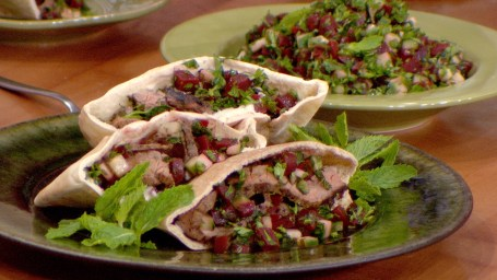 Flank Steak Shawarma with Garlicky Tahini and Beet Tabbouleh