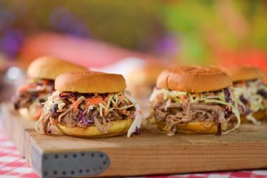 BBQ master Pat Martin makes homemade pulled pork sandwiches