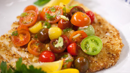 Donatella Arpaia's Almond Crusted Chicken Paillard with Tomato Salad