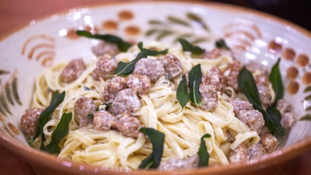Toni Alberti's Tagliatelle and Italian Sausage with Sage Cream Sauce