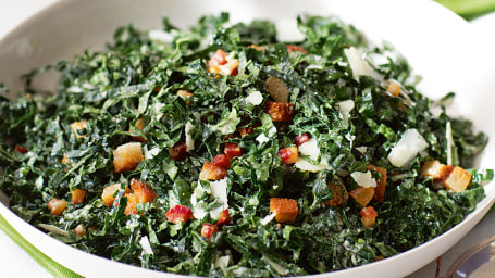 Kale salad with pancetta and pecorino