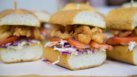 Shrimp Po'Boys with Bacon Coleslaw on Garlic Bread