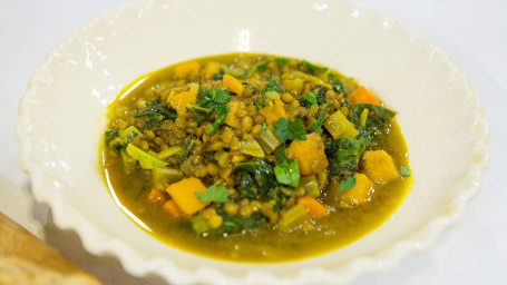 Lentil and Sweet Potato Stew with Turmeric and Kale