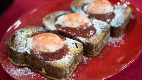 Jam-stuffed French toast and cauliflower and potato hash