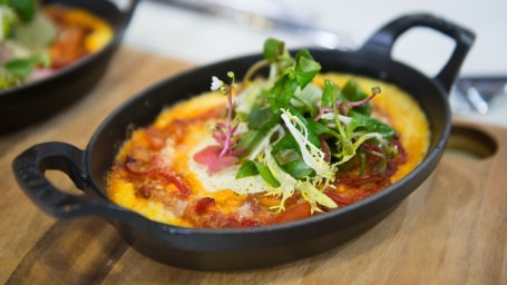 Italian Baked Eggs with Polenta and Tomato Sauce