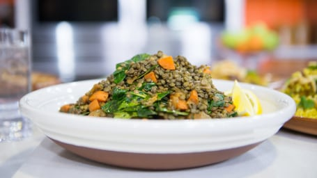 Palak Patel and Matt Lauer make Indian recipes on the Today Show. March 20, 2017.  Warm Lentil Salad